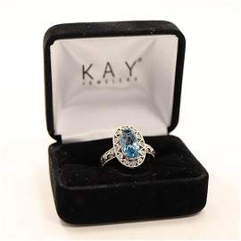 .925 Sterling Silver CZ and Blue Topaz Ring Size 7.5