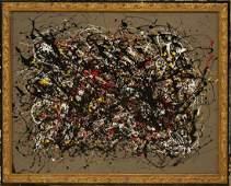 Jackson Pollock Style MidCentury Drip Art Oil Painting