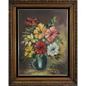 Vintage Oil Painting Still Life Flowers in Vase Signed