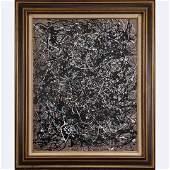 Pulgini after Jackson Pollock Mid-Century Drip Art O/b