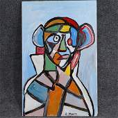 R. Monti after Picasso, Abstract Figure in Portrait O/b