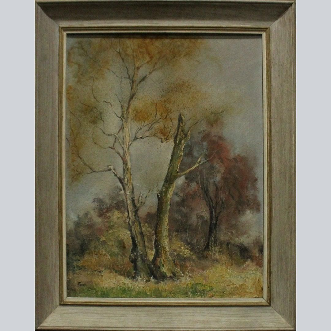 Flood, Oil/b Autumn Landscape With Trees Painting