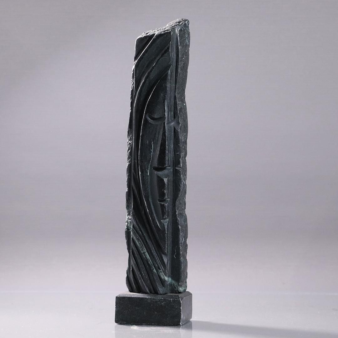 Hellene Signed Tall Narrow Stone Sculpture with Face