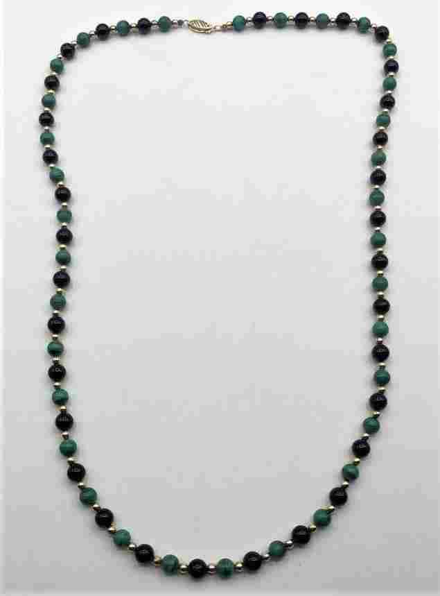 14K GF Gold Beads, Black Onyx, Malacite Beads Necklace