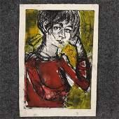 Vintage Lithograph Portrait of a Woman