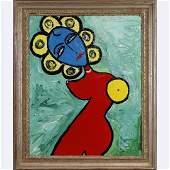 Pulgini, Mid-Century Modern Abstract Blue Woman Oil/b