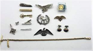 14 Pieces Assorted MAN LOT, Pins, Eagle, Tie, Cuff Link