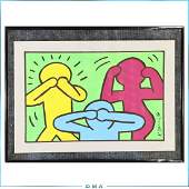 Keith Haring(after); 20th C. Felt -Tip Drawing Signed