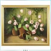 Fabrice de Villeneuve Oilc Plant Pots of Tulips