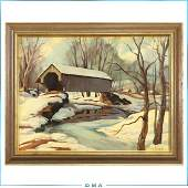 Emile A Gruppe Oilb Vermont Covered Bridge in Winter