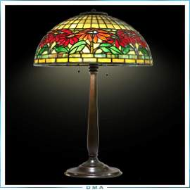 TIFFANY STUDIOS NEW YORK Poinsettia Lamp Signed S&B