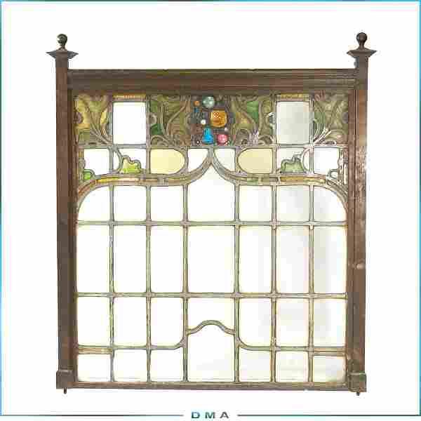 Antique Art Nouveau Leaded Stain Glass Window w/ Jewels