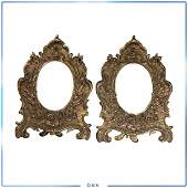 Pair Cast Iron Fancy French Victorian Picture Frames