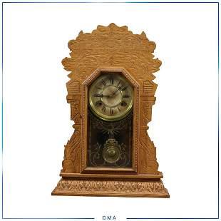 Victorian Oak Gingerbread Mantle Clock