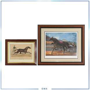 [2] Framed Horse Equestrian Lithographs Cortez, Currier