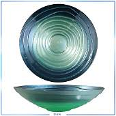 Modern Design Spiral Greens Blues Center Bowl Metal