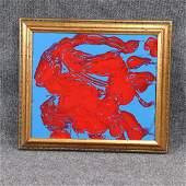 Pulgini MidCentury Modern Oilb Abstract Red on Blue
