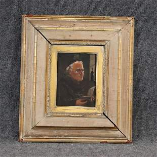 19th C Oil on Wood Panel Monk Reading a Book