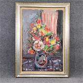 R Monti, Mid-Century Abstract Floral Still Life Oil/c