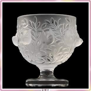 LALIQUE France Pedestal Vase with Birds in Relief