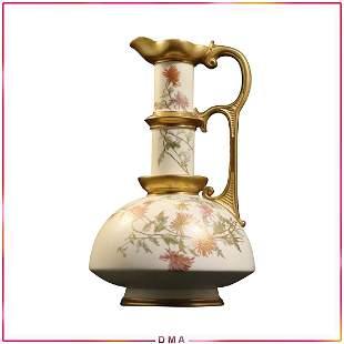 Royal Worcester Fine Porcelain Ewer Pitcher Floral Gold