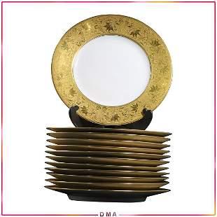12 Twelve Bavaria Wide Gold Rim Porcelain Dinner Plates