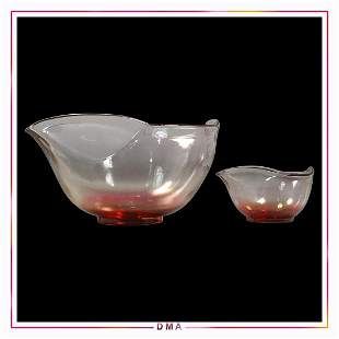 Mid-Century Glass 2 Pc. Chip and Dip Bowl Set