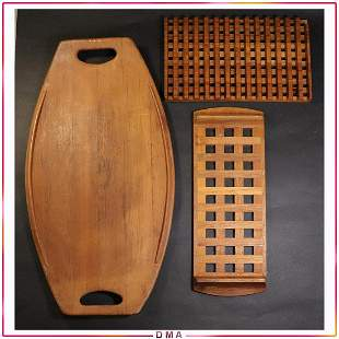 [3] Assorted Danish Modern Teak Wood Trays, Boards