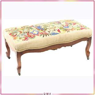 French Window Bench with Petti Point Cover Upholstery