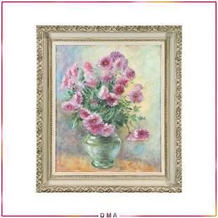Vintage Still Life Oil Painting Purple Flowers in Vase