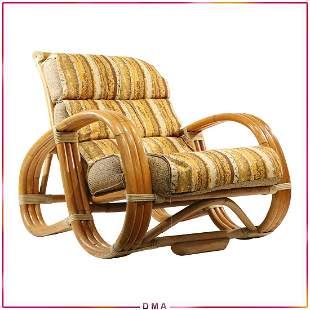 Paul Frankl Style Pretzel Side Rattan Bamboo Chair