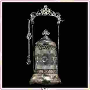 Victorian Silver Plate Pickle Jar Glass Center, Tongs