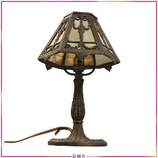 BRADLEY & HUBBARD Caramel Slag Glass Boudoir Lamp