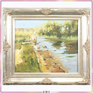 20th C. Fine Oil Painting Fishing at Stream, Children