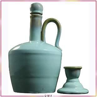 Fulper Pottery Green Bottle and Single Candlestick