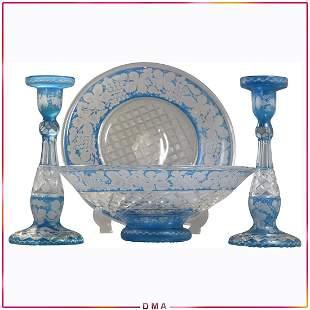 4 Pc. Light Blue Etched Grapes Glass Center Bowl Set