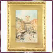 Napoli Italy Fine Antique Watercolor Outdoor Market