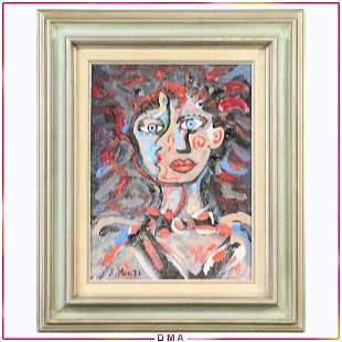 R Monti, Mid-Century O/c Abstract Double Face Portrait