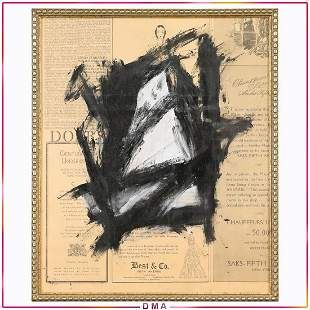 Attributed to Franz Kline, Lines Abstract on Newspaper
