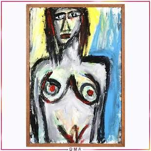 Pulgini, Mid-Century Modern Oil/c Abstract Nude Woman