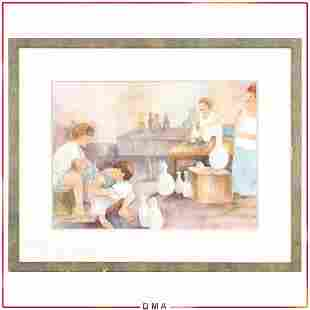 Elaine Goodman, Watercolor, Figures in Pottery Workshop