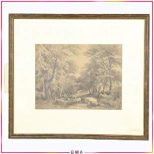 LOUIS C TIFFANY, Graphite Drawing Forest Landscape