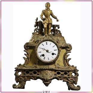 18th C. French Bronze Clock with Figure at Top