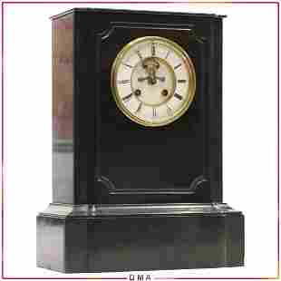 Quality Antique Black Marble French Mantle Clock