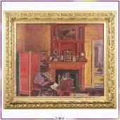 Albert Andre, Oil/c, Figure Reading in Parlor Interior