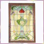 Antique Art Nouveau Stain Glass Leaded Window