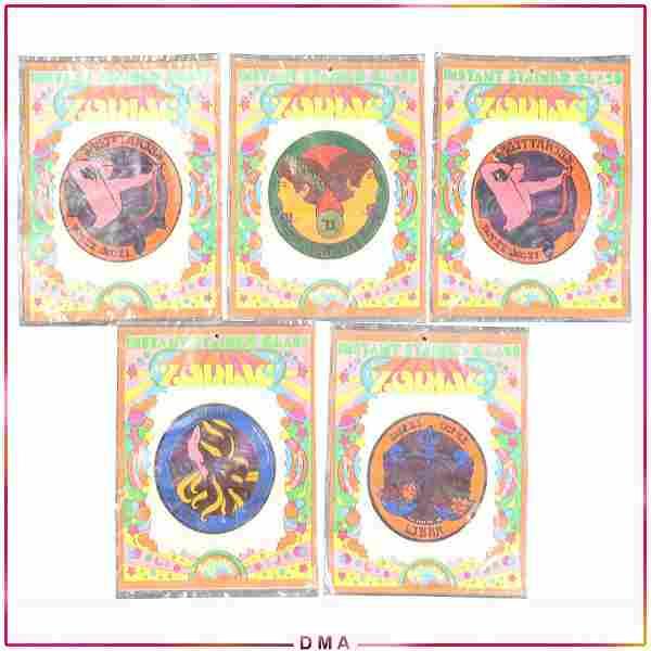 [5] Five 1975 Aviva Pop Art Zodiac Stickers