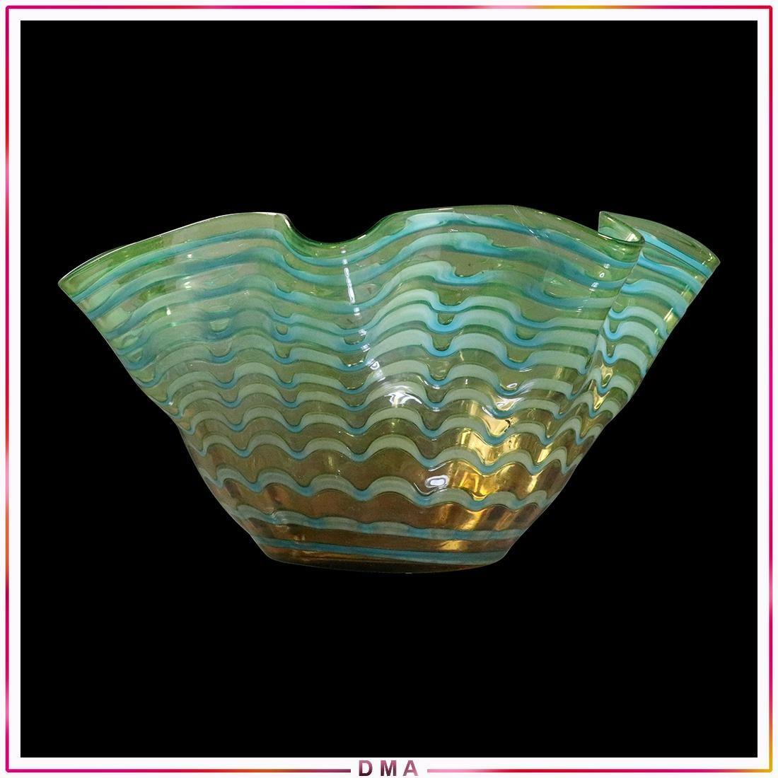 Mid-Century Italian Art Glass Wavy Bowl Green to Amber