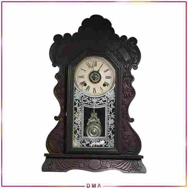 Ansonia Gingerbread Clock with Alarm, Key & Pendulum