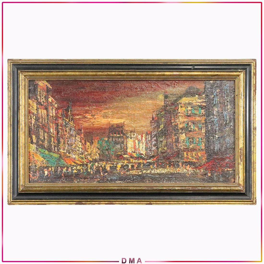 Impressionist City Scape Vintage Oil Painting on Board